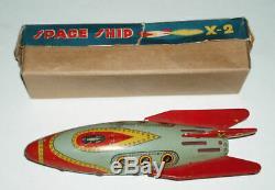1950's SPACE SHIP X-2 Vintage Circa Masudaya Tin X 2 Spaceship With Box