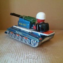 1950s Vintage PATROL COMMANDER PD-107 HORIKAWA Rosko TIN TOYS JAPAN Space + BOX