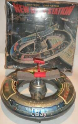 1960 Vintage Tin Toy New Space Station Litho Horikawa Japan 12 Inches