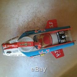 1960 s Vintage Japan Nomura Toys Space Fighter Super Jet V-7 Battery Tinplate