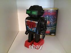 1960s Vintage Mr Galaxy Junior Toys Japan Tin Toy Robot Space Battery Op + Box