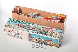 1962 Yonezawa Fire Rocket X-0077 Spaceship Space Toy Vintage Tin Litho Friction
