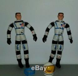 (2) Original Vintage 1966 Mattel Major Matt Mason Astronaut Space Toy Figure Lot