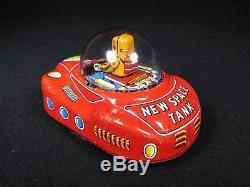 5.5 Vintage Futuristic Atom New Space Tank Tin Astronaut Car Yoshiya Japan