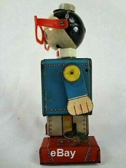 Early 1960s Daiya Japan Doctor Moon Vintage Tin Litho Windup Space Robot RARE