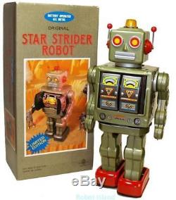 Horikawa Robot Tin Toy Star Strider Japan Vintage Space Toy Green Metal House