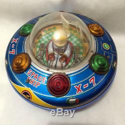 Horikawa Space Ship x-7 Tin Toy Friction don't work Vintage Japan