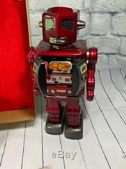 Japan VINTAGE Tin Toy Red 12 Space Evil Robot Battery Operated Reintroduced