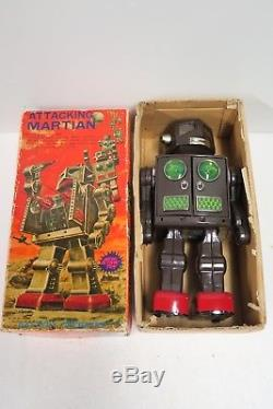 Japanese Bat Op Robot Attacking Martian Horikawa Toy Ind 1960 Vintage -ob