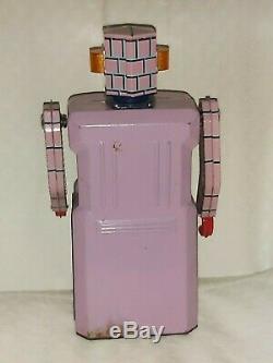 Lavender Robot Gang Of Five Vintage Space Tin Toy Japan