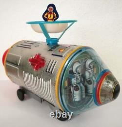 MASUDAYA Made in Japan 60'S VTG TIN TOY SPACE CAPSULE WITH 2 FLOATING ASTRONAUTS