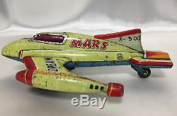 Marusan Vintage Tin Mars Dream Jet Friction Toy Airplane Space Rocket Japan San