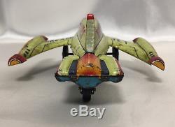 Marusan Vintage Tin Mars Dream Jet Friction Toy Airplane Space Rocket Japan San