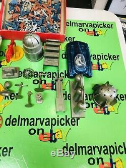 Marx Vtg Official Tom Corbett Space Academy Playset Car Figures Tin Box Nice set