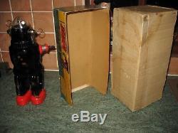 Nomura Mechanized Robby Robot & Box Tin Piston Japan Tinplate Vintage Space Toy