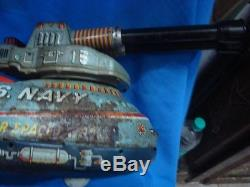 Old Vintage Big Size Battery Operated US Navy Space Petrol Vehicle Toy from Japa