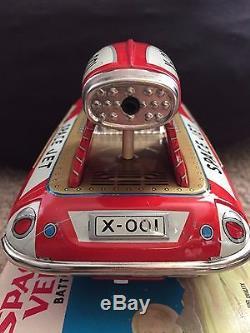 RARE Vintage 1964 Bandai Space Jet Vehicle X-001 ORIGINAL BOX Tin Japan
