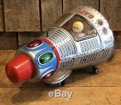 RARE Vintage Modern Toys Japan CAPSULE 7 Tin Space Ship Battery Toy WORKING