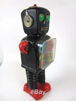 RARE Vtg 1960's WHEEL-A-GEAR Taiyo Japan Blink ROBOT Battery Space Tin Toy WORKS
