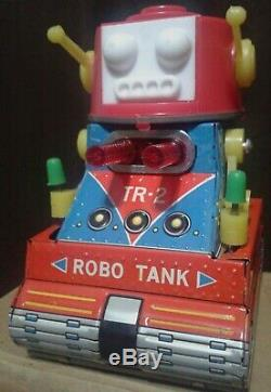 ROBOT robo tank mini NOMURA TOYS 60's vintage unused in box RARE TIN LITHO japan