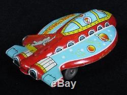 Rare Early Vintage Kokyu Japan Futuristic Rocket Space Ship Tin Litho. Saucer