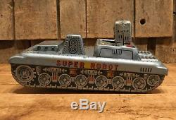 Rare Vintage 50s SUPER ROBOT Tin Space Tank Friction Toy SH Made In Japan