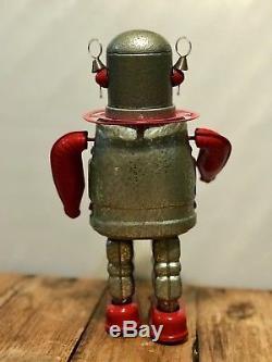 Rare Vintage MC Space Astronaut Spaceman Metal Tin Windup Robot Litho Toy HTF EC