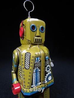 Rare Vintage Olive Sparky Robot Yoshiya Japan Tin Lithograph Mechanical Wind-up