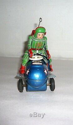 Rare Vtg. 1950's Japan K. O. Friction Space Mobile X-15 Astronaut On Rocket Tin Toy
