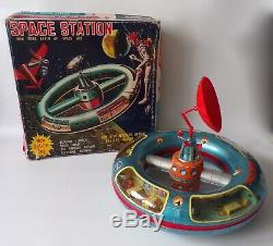 S. H Horikawa NASA Space Station, Vintage 1960's Japanese Tin Toy Robot UFO