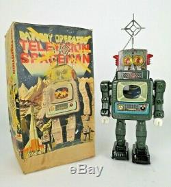 SCARCE Vtg 1960s ALPS Television SPACEMAN Tin TOY Space ROBOT Japan WORKS NMIB