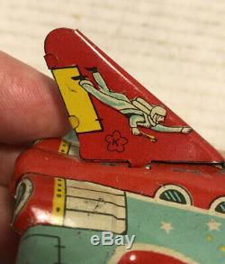 Scarce Vintage 1950s Kokyu Tin Litho Rocket Space Ship Saucer Friction Toy