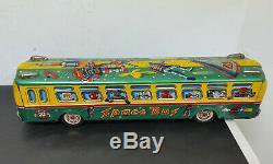 Space Bus vintage 1960s Japanese Tin toy Litho Robby Robot Masudaya friction
