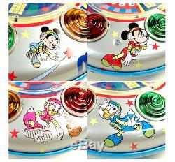 Tin Toy Masudaya Disney Mickey Mouse Space Ship Made in Japan 1980's Vintage 455