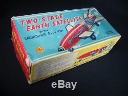 VINTAGE 1960's LINEMAR MARX TWO STAGE EARTH SATELLITE TIN LITHO. ORIG. BOX WORKS