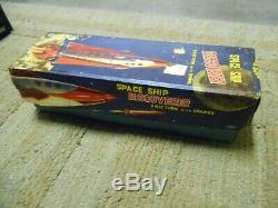 VINTAGE ALPS SPACE SHIP DISCOVERER FRICTION WithSPARKS TIN TOY ROCKET IN BOX-JAPAN