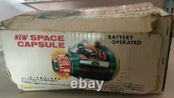 VINTAGE SH HORIKAWA JAPAN 1960's NEW CAPSULE BATTERY OPERATED SPACE CAPSULE BOX