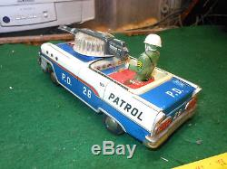 VINTAGE TN NOMURA POLICE PATROL Japan Tin Toy with Box Car 50s 1960 Space Litho