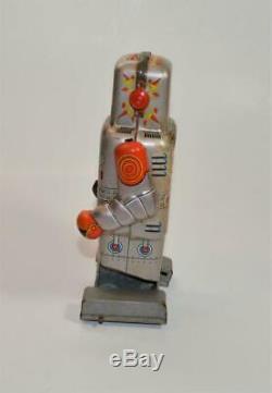 VTG 1960s Tinplate Mechanical Wind Up Walking Sparking Robot SY Yoneya, Japan