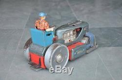 Vintage 1200 Battery Unique Litho Road Roller Tin Toy, Japan