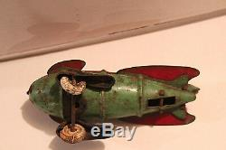 Vintage 1935 WYANDOTTE PRESSED STEEL TOY ROCKET SPACE SHIP RACER BUCK RODGERS