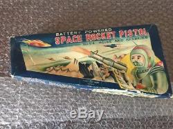 Vintage 1950's TN Nomura Battery Powered Space Rocket Pistol Toy Ray Gun Japan