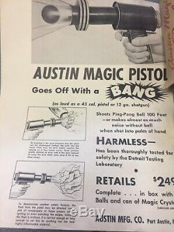 Vintage 1950s Austin Magic Pistol Metal Space Ping Pong Ball Toy Gun & Box