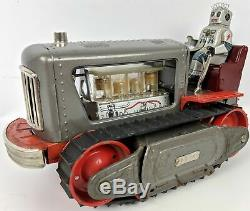 Vintage 1957 NOMURA (Japan) Lighted Piston Tin ROBOT TRACTOR 1200 Space Toy