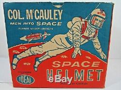 Vintage 1960 Col. Mccauley Men Into Space Ideal Space Helmet Toy With Box