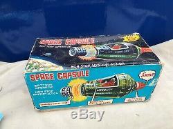 Vintage 1960's Boxed Horikawa Sh Space Capsule Rocket Ufo Vintage Tin Toy Japan