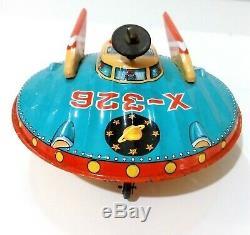 Vintage 1960's x-326 Tinplate Space Ship Rocket Japan TM Toys