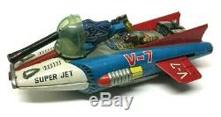 Vintage 1960s Japan Nomura Toys Space Fighter Super Jet V-7 Battery Tinplate