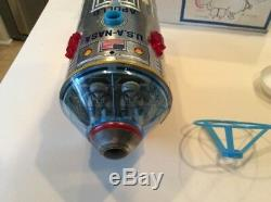 Vintage 1960s SPACE CAPSULE with FLOATING ASTRONAUT TIN Japan Toy-XLNT with BOX
