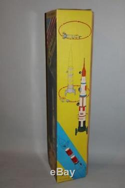 Vintage 20 inch Tin B/O Apollo Saturn 2 Stage Moon Rocket T. N made in Japan